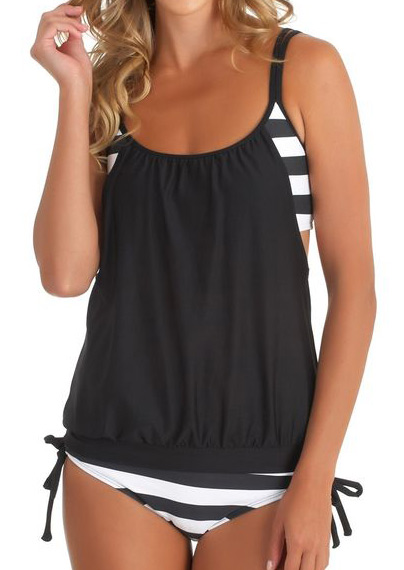 Striped Splicing Spaghetti Strap Tankini - Black фото