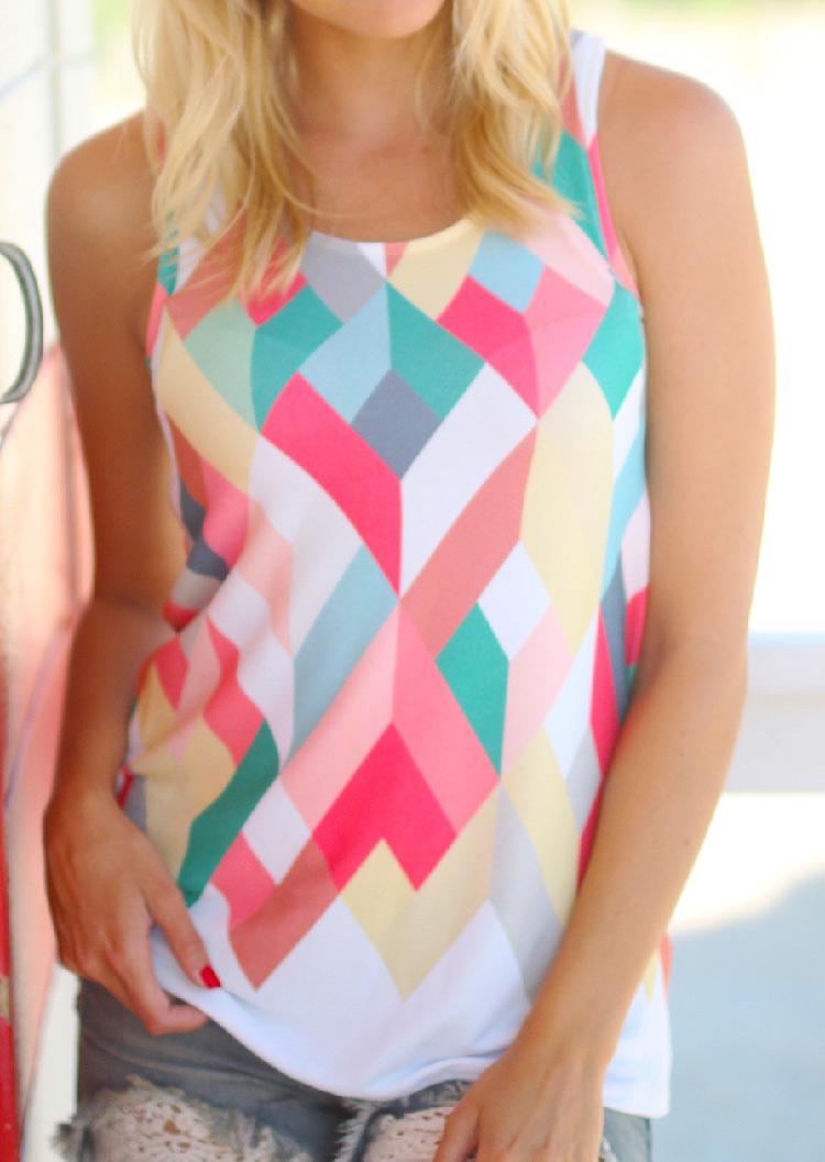 Tricou de damă, fashion, slim fit, din poliester, fără mâneci, cu imprimeu multicolor