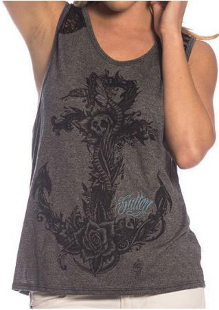 Printed Lace Splicing Fashion Tank