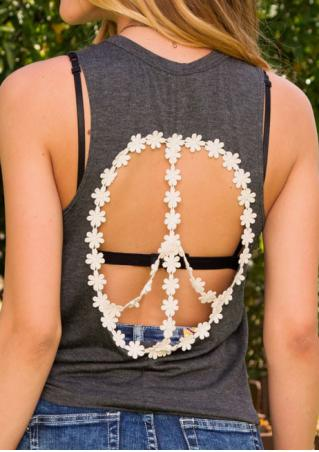 Printed Lace Backless Fashion Tank Without Necklace