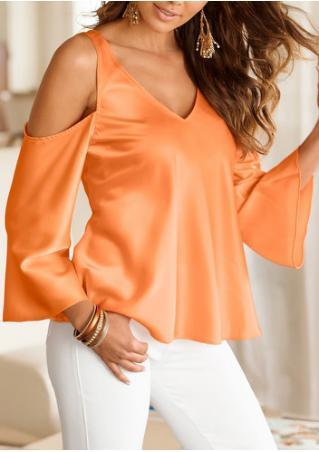 Solid Off Shoulder V-Neck Fashion Blouse Without Necklace