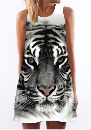 Animal Printed Sleeveless Casual Shift Dress