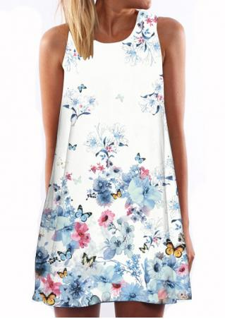 Floral Butterfly Printed Shift Dress