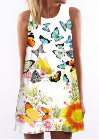 Butterfly Printed Sleeveless Casual Shift Dress