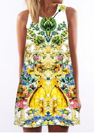 Multicolor Printed Sleeveless Casual Shift Dress