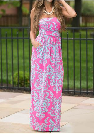 Printed Backless Maxi Strapless Dress Without Necklace