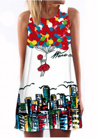 Printed Sleeveless Casual Shift Dress