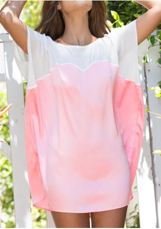 Color Block Batwing Sleeve Casual Mini Dress Color