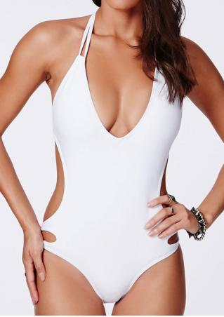 Solid Backless Sexy Halter One-Piece Swimsuit