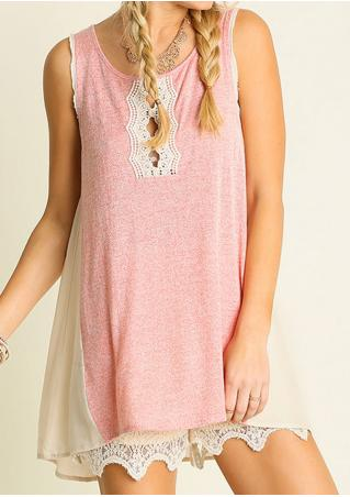Lace Splicing Casual Mini Dress Without Necklace