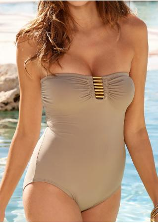 Solid Strapless Sexy Beach One-Piece Swimsuit
