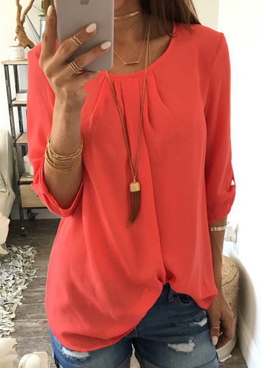 Solid O-Neck Fashion Blouse Without Necklace