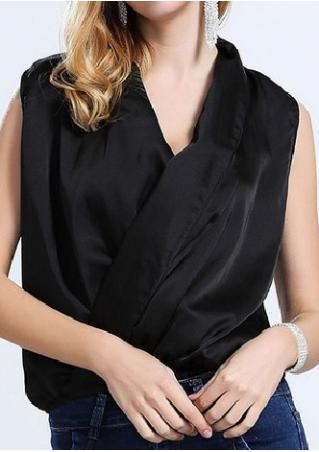 Solid V-Neck Sleeveless Plus Size Fashion Blouse