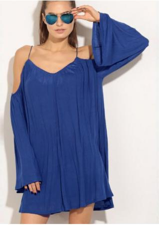 Solid Ruffled Backless Off Shoulder Strap Dress