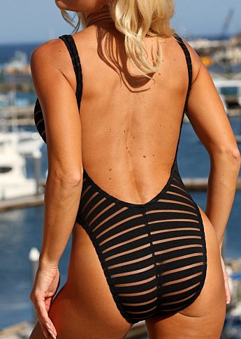 Striped Splicing Backless Sexy One-Piece Swimsuit