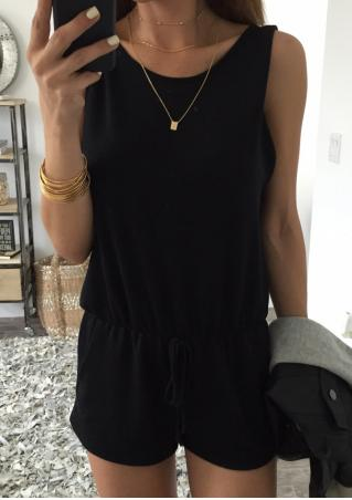 Solid Backless Fashion Romper Without Necklace Solid