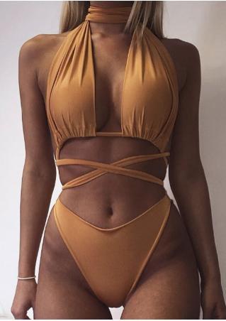 Solid Bandage Bikini Set Solid