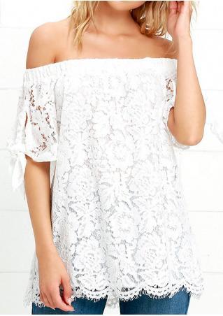 Solid Lace Slash Neck Fashion Blouse