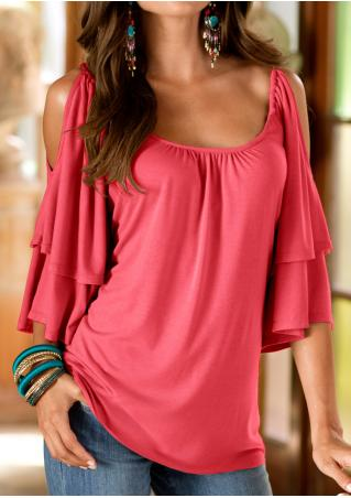 Solid Layered Ruffled Off Shoulder Modish Blouse