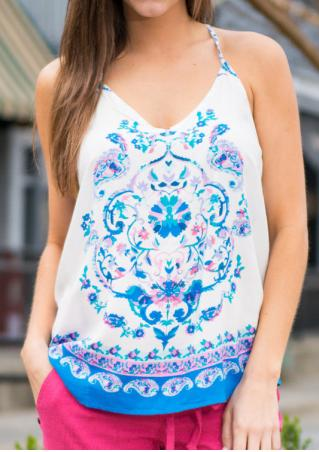 Paisley Printed Backless Sexy Camisole Paisley