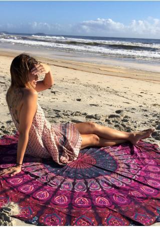 Printed Fashion Round Beach Blanket Brandless