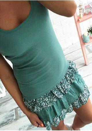 Printed Lace Splicing Mini Flounce Dress