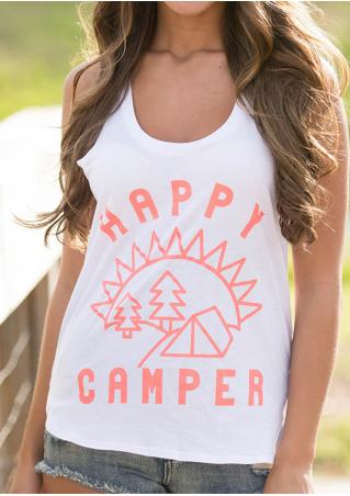 Letter Printed Racerback O-Neck Fashion Tank