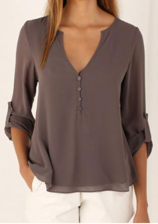 Solid Button Irregular Fashion Blouse Solid