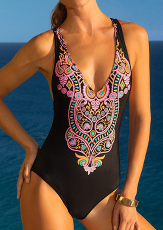 Printed Strappy Sexy One-Piece Swimsuit 19296