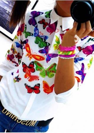 Butterfly Floral Printed Fashion Shirt