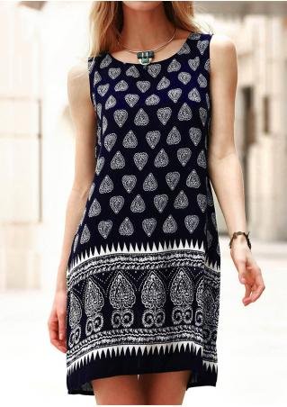 Printed Sleeveless Casual Mini Dress Without Necklace