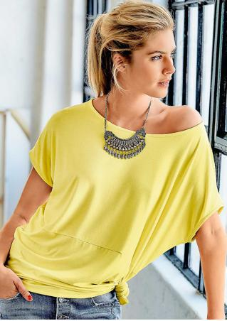 Solid Batwing Sleeve Fashion T-Shirt Without Necklace Solid