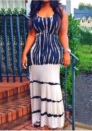 Printed Sleeveless O-Neck Casual Maxi Dress