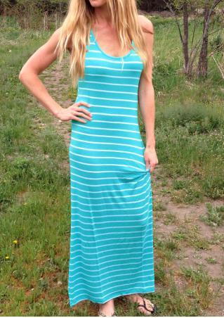Striped Sleeveless Fashion Maxi Dress