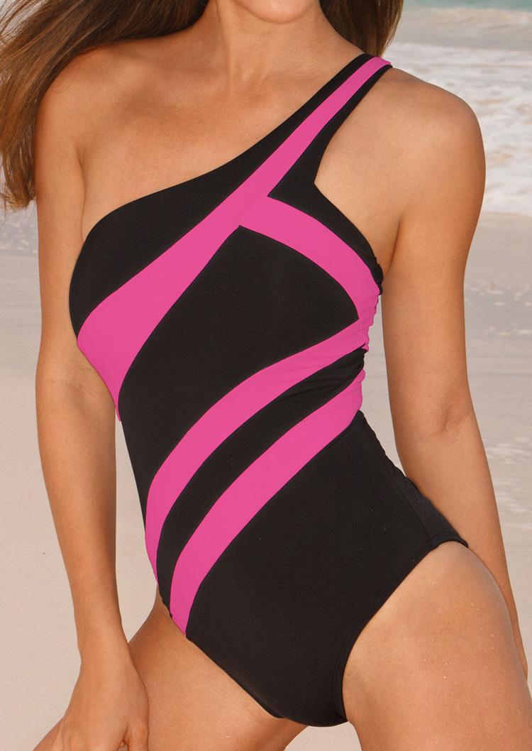 Color Block One Shoulder Sexy One Piece Swimsuit Fairyseason