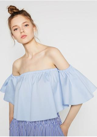 Solid Ruffled Slash Neck Sexy Crop Top