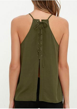 Solid Lace Up Fashion Camisole Without Necklace Solid