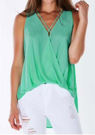 Solid Cross Ruffled Irregular Fashion Tank