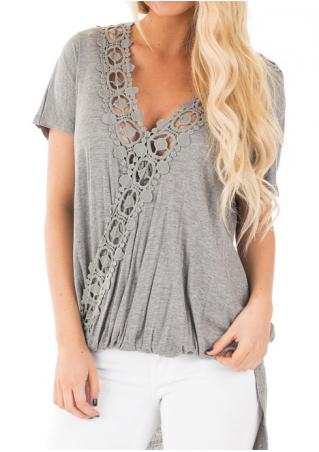 Solid Lace Splicing Irregular Fashion Blouse Solid
