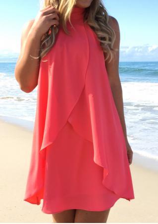 Solid Ruffled Fashion Mini Halter Dress