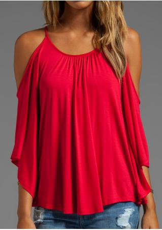 Solid Ruffled Off Shoulder O-Neck Fashion Blouse