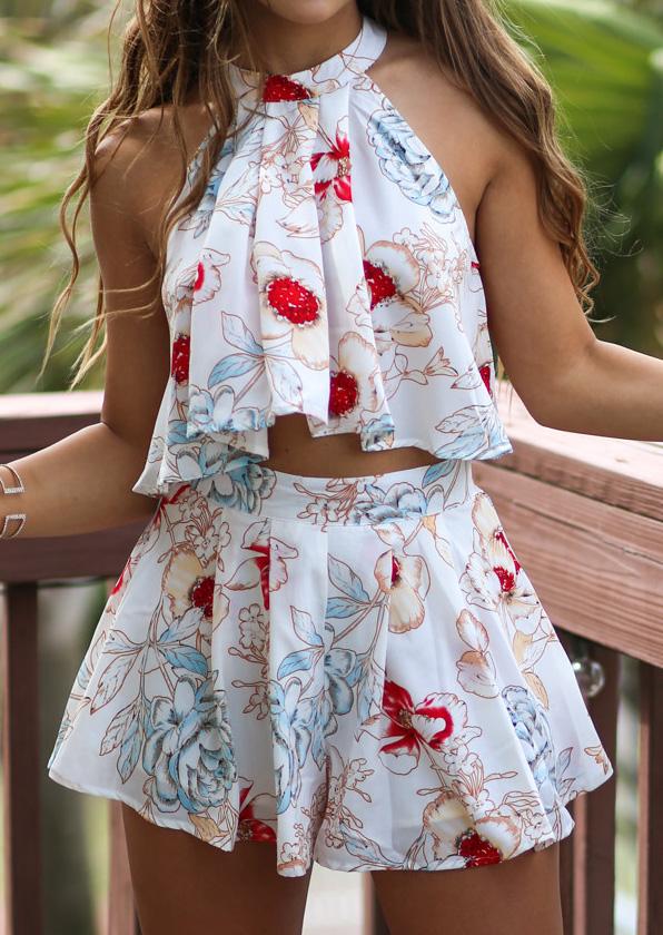 Floral Ruffled Crop Top Shorts Set Fairyseason