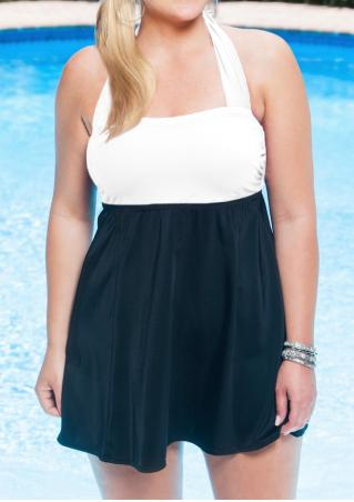 Color Block Plus Size Halter Sexy Tankini