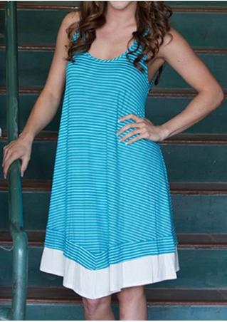 Striped Splicing Sleeveless Mini Dress
