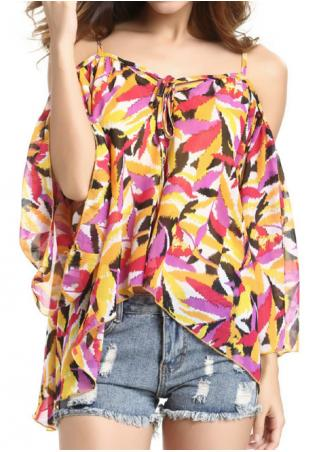 Printed Irregular Spaghetti Strap Fashion Blouse