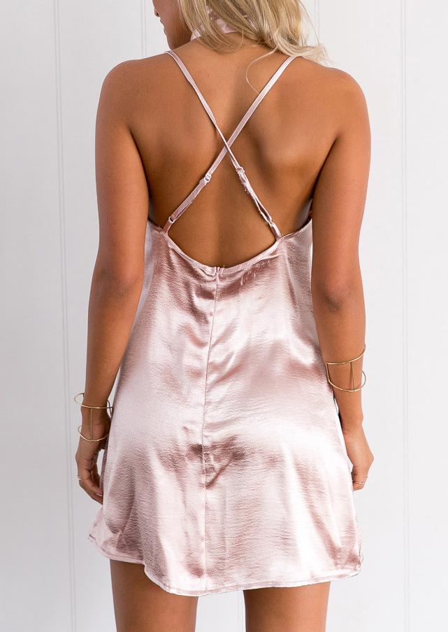 Solid Deep V Neck Sexy Mini Dress Fairyseason