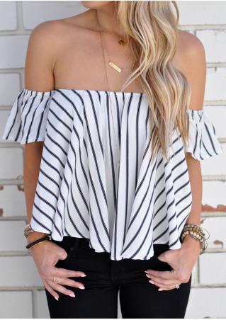 Striped Slash Neck Fashion Blouse Without Necklace