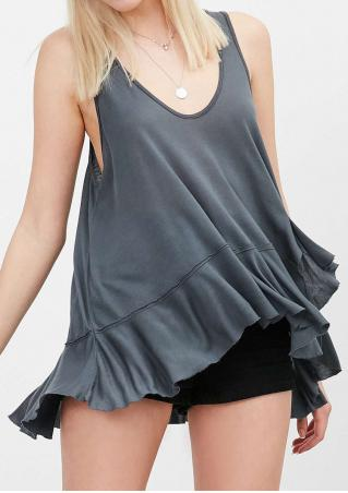Solid Ruffled Irregular Fashion Tank Without Necklace