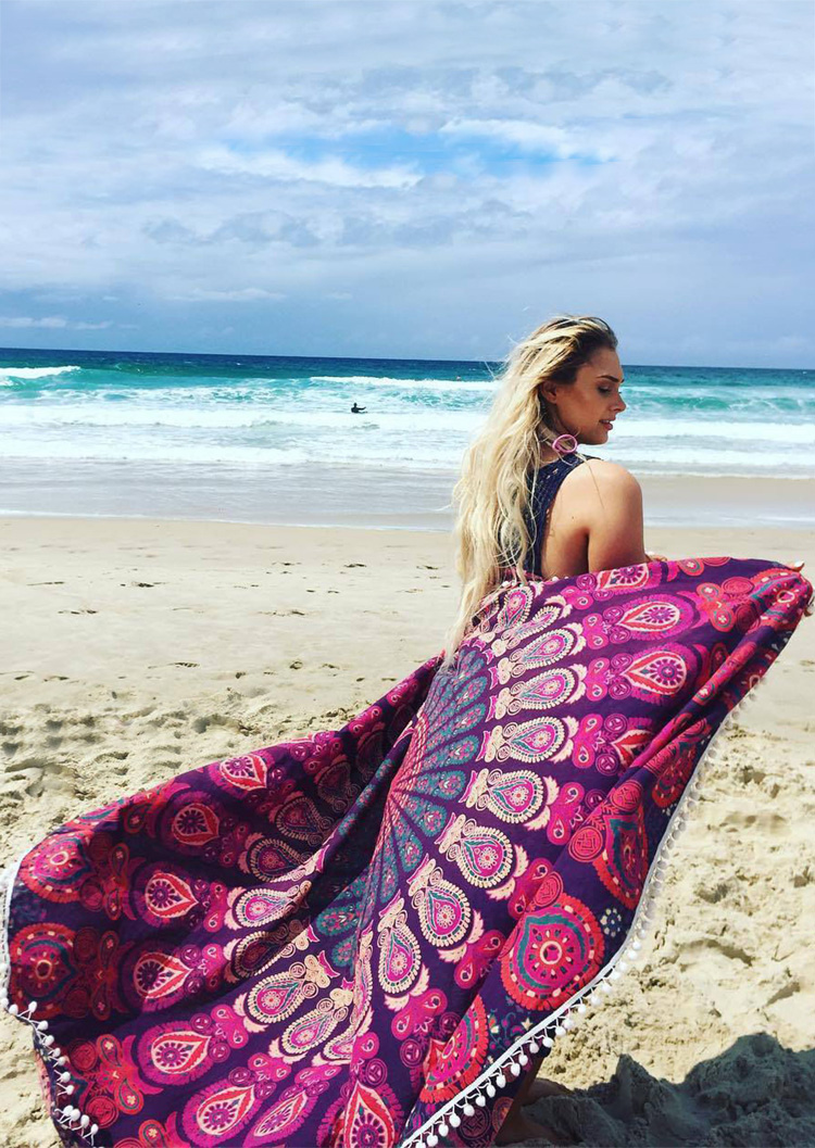 Printed Tassel Round Beach Blanket Fairyseason