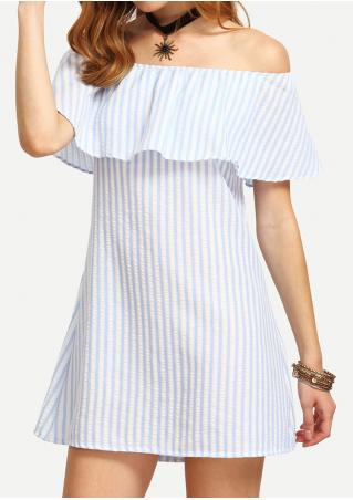 Striped Off Shoulder Mini Dress Without Necklace